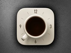 Coffee Alarm Clock iOS icon - Coffee Icon - Ideas of Coffee Icon - Coffee Alarm Clock iOS icon by Vlad Mobile App Icon, Ios App Icon, Mobile Ui, App Icon Design, App Ui Design, Web Design, Flat Design, Site Design, Coffee Clock