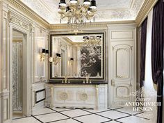 Респектабельный дизайн дома с роскошным холлом в классическом стиле от Antonovich Design