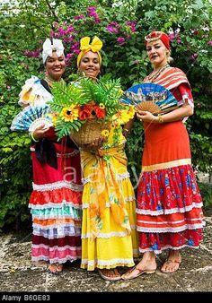 Cuban Ladies in Traditional Dress Plaza de Armas Old Havana havana Cuba Stock Photo Havanna Nights Party, Havana Nights Party Theme, Havana Party, Cuban Dress, Cuba Outfit, Cuban Women, Cuban Party, Cuban People, Cuban Culture