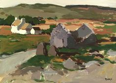"""thorsteinulf: """"Donald McIntyre - Cottages and Ruin """" Cottages In Wales, Sense Of Sight, Misty Day, Rocky Shore, Building Art, Art Uk, National Museum, Your Paintings, Landscape Art"""