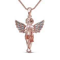 His & Her 14K Rose Gold Finish 925 Silver Multi-Color CZ Baby Angel Pendant…