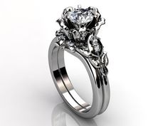 Platinum diamond unusual unique floral engagement ring by Jewelice