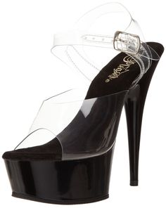 Pleaser Women's Delight-608 Ankle-Strap Sandal,Clear/Black,8 M US. Towering dress sandal featuring two-piece see-through upper and glossy platform and heel. Ankle strap with adjustable buckle.