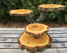 Large Log Black Locust Wood Rustic Cake 30 Cupcake Stand Wedding party shower wooden 4 tiered