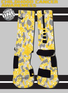 Childhood Cancer Awareness Custom Nike Elite Socks