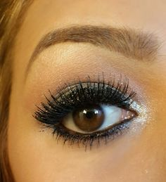 Black glitter and highlights! long lashes!