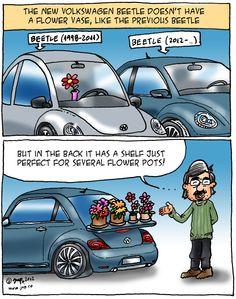 Volkswagen Beetle... flower shelf   (funny comic by Jup,  http://jupcartoons.wordpress.com)