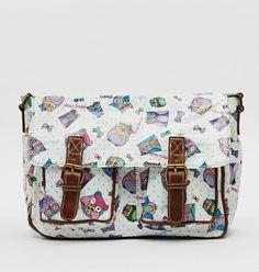 Owl Print Satchel Bag WHITE handbags