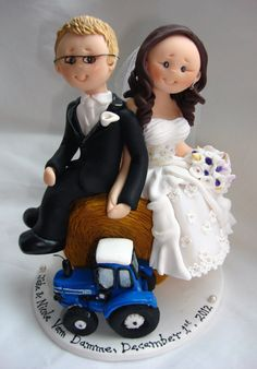 Farm themed wedding cake topper bride and groom by ALittleRelic