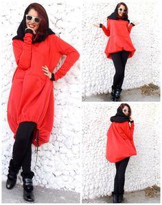 Asymmetric Hoodie / Dresss Sweatshirt / Asymmetrical Extravagant Dress / Tunic Sweatshirt TDK17