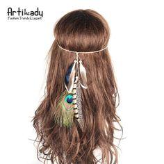 Artilady bohemian headbands for women handmade hippie headdress peacock feather hair accessories
