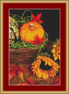 Pumpkin And Sunflower Cross Stitch Pattern