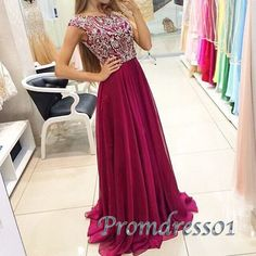 Modest prom dress, homecoming dress, beautiful wine red chiffon  neck sequins prom dress for teens