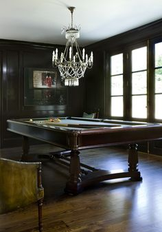 The homeowners chose to replace their original dining room with a billiard room that becomes the center of the house when entertaining guests. The chairs are the owners' original pub chairs and the billiard table is their existing Brunswick table.