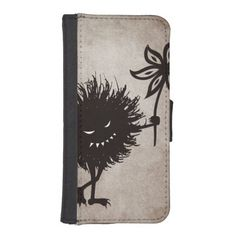 Dark Evil Bug Gives Flower Vintage Texture Phone Wallet $24.95 #iphonecase #iphone #gothic