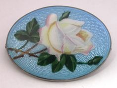 Guilloche Enamel Hand Painted Rose Brooch,