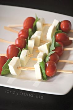 Caprese Salad on a Stick add a littel balsamic reduction and slice of red onion - good idea for Girls Night In