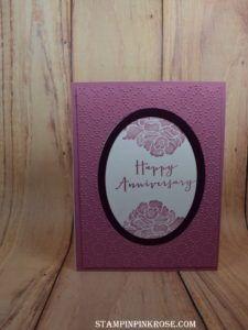 Stampin' Up! CAS anniversary card made with Floral Phrases stamp set and designed by Demo Pamela Sadler. See more cards at stampinkrose.com #stampinkpinkrose
