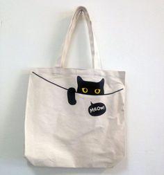 Projects for college, Peeping Cat Tote Bag - superB studio - Handbags & Totes Sacs Tote Bags, Canvas Tote Bags, Women's Bags, Sacs Design, Cat Bag, Denim Bag, Fabric Bags, Cloth Bags, Tote Handbags