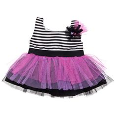Black & White Striped Dress with Tulle Skirt - Build-A-Bear Workshop US