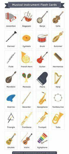 32 ideas for music instruments free printable English Vocabulary Words, Learn English Words, English Lessons, English Grammar, English Language Learning, Teaching English, Teaching Music, Teaching Reading, Elementary Music