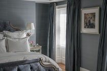 Master Bedroom with Upholstered Bed, Silk Curtains and Silk Walls  Bedroom  American  Transitional by Kristin Paton Interiors