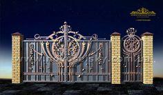 Grill Gate Design, Custom Gates, Main Gate, Wrought Iron, Big Ben, Fence, Maine, House Design, Doors