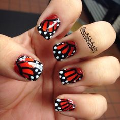 Monarch butterfly nails from @ nuthinbutnails on Instagram