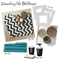 master bathroom colors.  Black, White, Taupe and teal.
