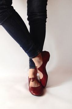 The Drifter Leather handmade shoes — Ballet flats - Passion in Deep Red