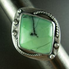 Citron Chrysoprase AAA designer cabachon (Gary Wilson) sterling silver ART JEWELRY ring * Chelle' Rawlsky * size approx 7.75+ * 1 of a kind by AnniPearls on Etsy