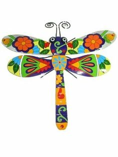 Metal Wall Art Sculpture Talavera Style Orange Daisy Dragonfly by Metal Art. $19.99. indoor/outdoor use. metal wall art sculpture. 14 inches wide, 13 inches long. dragonfly. bright colors Talavera Style. This vibrantly-colored dragonfly is done in the Talavera style. Made of metal, and suitable for indoor and outdoor use, the sculpture is 14 inches wide and 13 inches long. The colors include medium blue with red, orange and greens. Whimsical eyes and antennae...