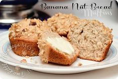 Banana Nut Bread Muffins! Just made them they are wonderful.  It made 12 regular size muffins and 12 mini muffins.  I only topped half with walnuts for those who can't have nuts!