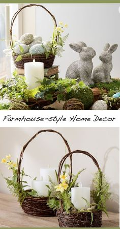 Add some decorative eggs to this basket for easy spring decor. The rustic twigs are decked out with fronds, flowers, and soft moss.  #homedecor #ideas #ad #DIY #spring #farmhouse #rustic #outdoors #love #beautiful #interiordesign #basket #easter #rabbit #cheap #easy #budget #sale #deckdecorating