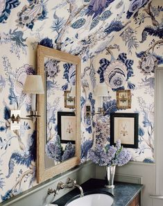 A good way to deal with pesky sloped walls: big print wallpaper all over. Home Deco Big bold print wallpaper bathroom deal good pesky Print sloped wallpaper Walls Bathroom Wallpaper, Of Wallpaper, Large Print Wallpaper, Blue Floral Wallpaper, Floral Wallpapers, Butterfly Wallpaper, Beautiful Wallpaper, Galaxy Wallpaper, Modern Country