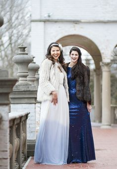 Beautiful gowns by Mink Maids in Milwaukee in shades of winter blue! Photographed at Villa Terrace by Twin Lens Weddings #villaterrace #milwaukee #twinlensweddings #bridestyle #minkmaids #vintagebrides #winterwedding #weddinginspiration
