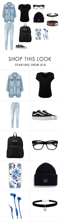"""""""first day of school"""" by bananacat132 on Polyvore featuring LE3NO, Alexander Wang, Frame, Vans, JanSport, Casetify, Acne Studios, JBL, Betsey Johnson and Hot Topic"""
