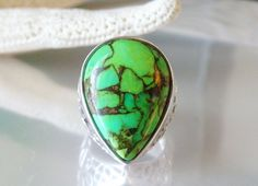 DESIGNER MSI STERLING SILVER 925 BIG GREEN TURQUOISE COPPER MATRIX OPEN RING #MSI #Cocktail