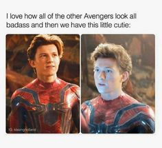 Picture memes 1 comment — iFunny - I love how all of the other Avengers look all badass and then we have this little cutie: – popula - Funny Marvel Memes, Marvel Jokes, Dc Memes, Avengers Memes, Marvel Avengers, Funny Memes, Man 2, Tom Holland Peter Parker, Tommy Boy