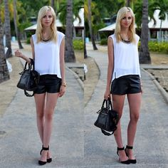 Stylesofia Faux Leather Shorts, Balenciaga City Giant 12
