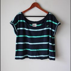 """Striped Hollister top Striped boxy style top - embroidered logo - cotton/modal combo - chest across measures 22"""" - total length measures 20"""" - size M/L Hollister Tops"""