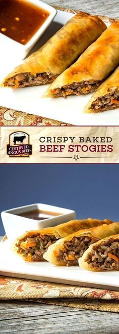 These delicious Crispy Baked Beef Stogies made with Certified Angus Beef brand ground beef make the perfect appetizer or party food! Chili paste cabbage and carrot slaw and onions bring out the strong flavor in this delicious finger food recipe. Best Beef Recipes, Ground Beef Recipes, Cooking Recipes, Favorite Recipes, Healthy Recipes, Finger Food Recipes, Cooking Rice, Meal Recipes, Cake Recipes