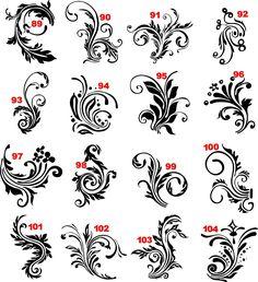 Цветочные завитки в векторе Floral swirls in vector 15 Формат: AI+TIFF Размер архива: 13.45 Mb.