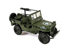 Norev 1:18 Willys Jeep Diecast Model Car 189011 This Willys Jeep Army Version (1942) Diecast Model Car is Green and features working wheels and also opening bonnet with engine. It is made by Norev and is 1:18 scale (approx. 19cm / 7.5in long). This excellent model of the classic Willys jeep comes with US Army decals and .30 calibre machine gun mounted in the body tub. #Norev #ModelCar #Willys