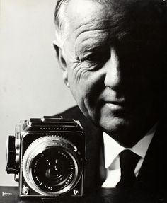 Victor Hasselblad with one of his cameras