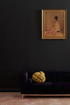 Incy Interiors navy velvet Hugo kids sofa, navy wall