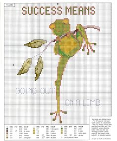 """""""Success means going out on a limb"""" cross stitch chart"""