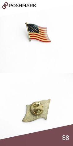 "Vintage American Flag Enamel Pin Vintage American Flag Enamel Pin  • Genuine vintage • 1"" x 3/4"" • Colors: red, white, blue, gold • Themes: USA, motorcycle, patriotic, Americana Vintage Accessories"