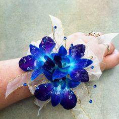 Blue Dendrobium Orchid wrist corsage www.bloomboxonline.com