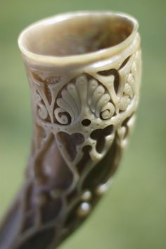 "Drinking horn. Viking marriage day was set on a Friday for ""Frigg,"" goddess of marriage. It would take place outside and in the fall for easy travel before winter and to ensure plenty of honey for mead."